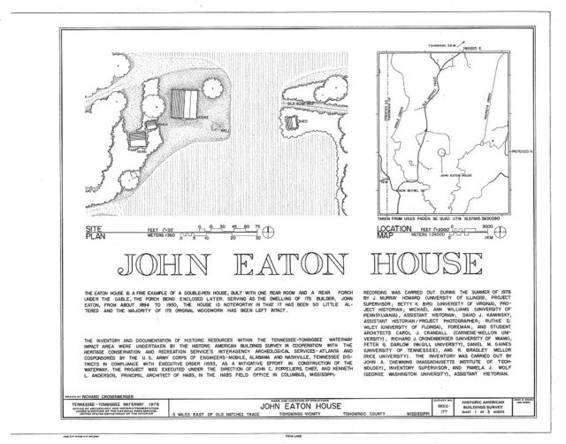 John Eaton House, Old Natchez Trace vicinity, Tishomingo, Tishomingo County, MS
