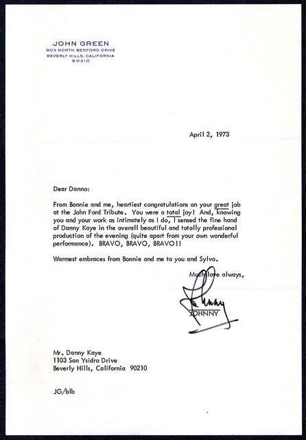 [ John Green to Danny Kaye, April 2, 1973]