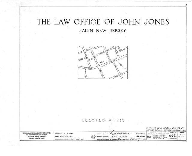 John Jones Law Office, West Broadway & New Market Street, Salem, Salem County, NJ
