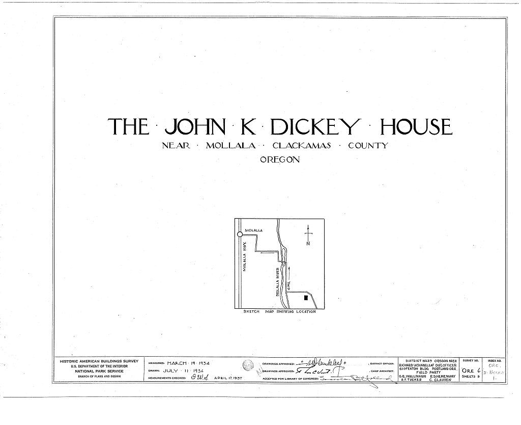 John K. Dickey House, Molalla, Clackamas County, OR