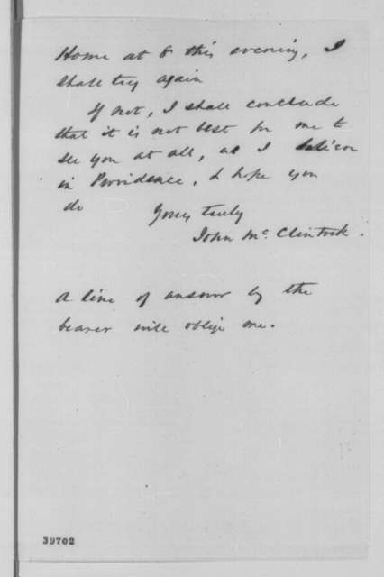 John McClintock to Abraham Lincoln,  ND  (Meeting with Lincoln)