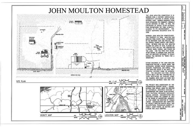 John Moulton Homestead, Northwest corner of Mormon Row Road and Antelope Flats Road, Kelly, Teton County, WY
