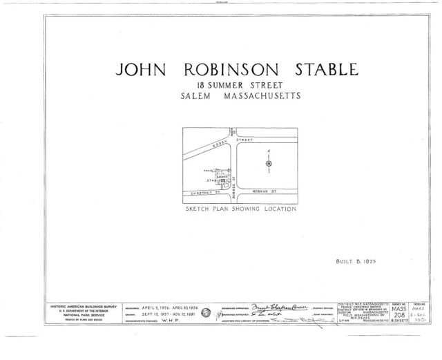 John Robinson Stable, 18 Summer Street, Salem, Essex County, MA
