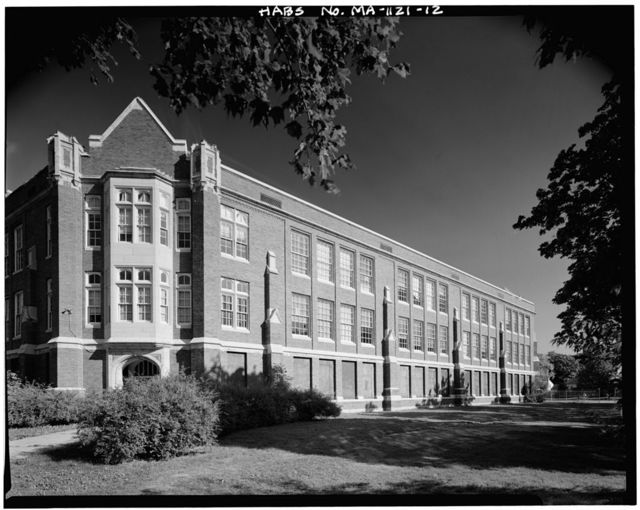 John Wingate Weeks Junior High School, Hereward & Rowena Streets, Newton Center, Middlesex County, MA
