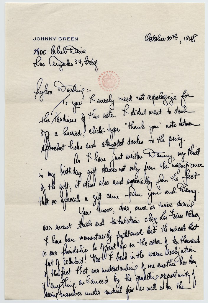 [ Johnny Green to Sylvia Fine, October 10, 1948]