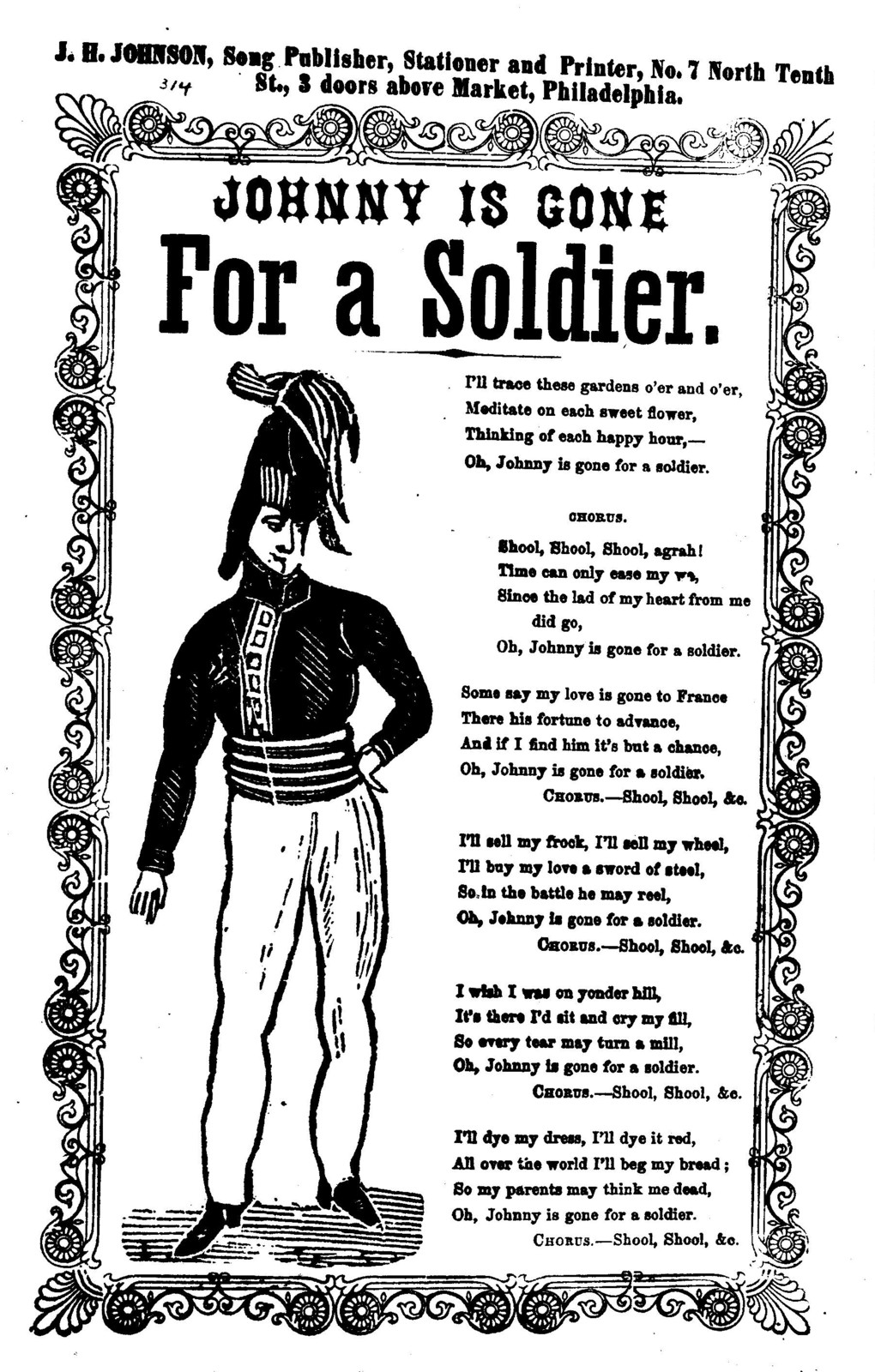 Johnny is gone for a soldier. J. H. Johnson, Song Publisher, ... Phila