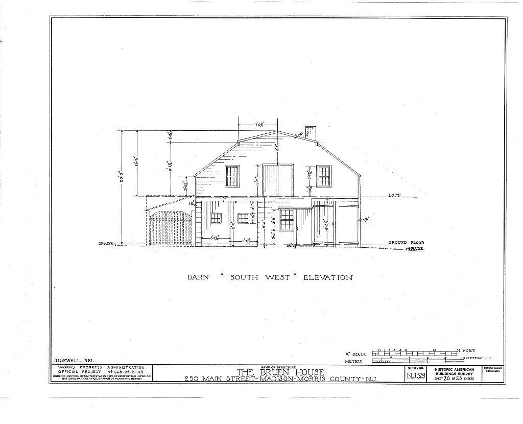 Jonathan B. Bruen House, 250 Main Street, Madison, Morris County, NJ