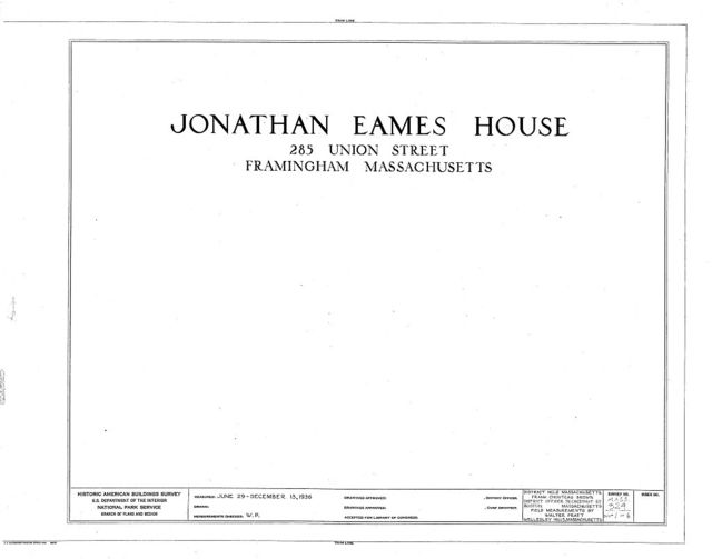 Jonathan Eames House, Union Avenue (moved to Prospect Street), Framingham, Middlesex County, MA