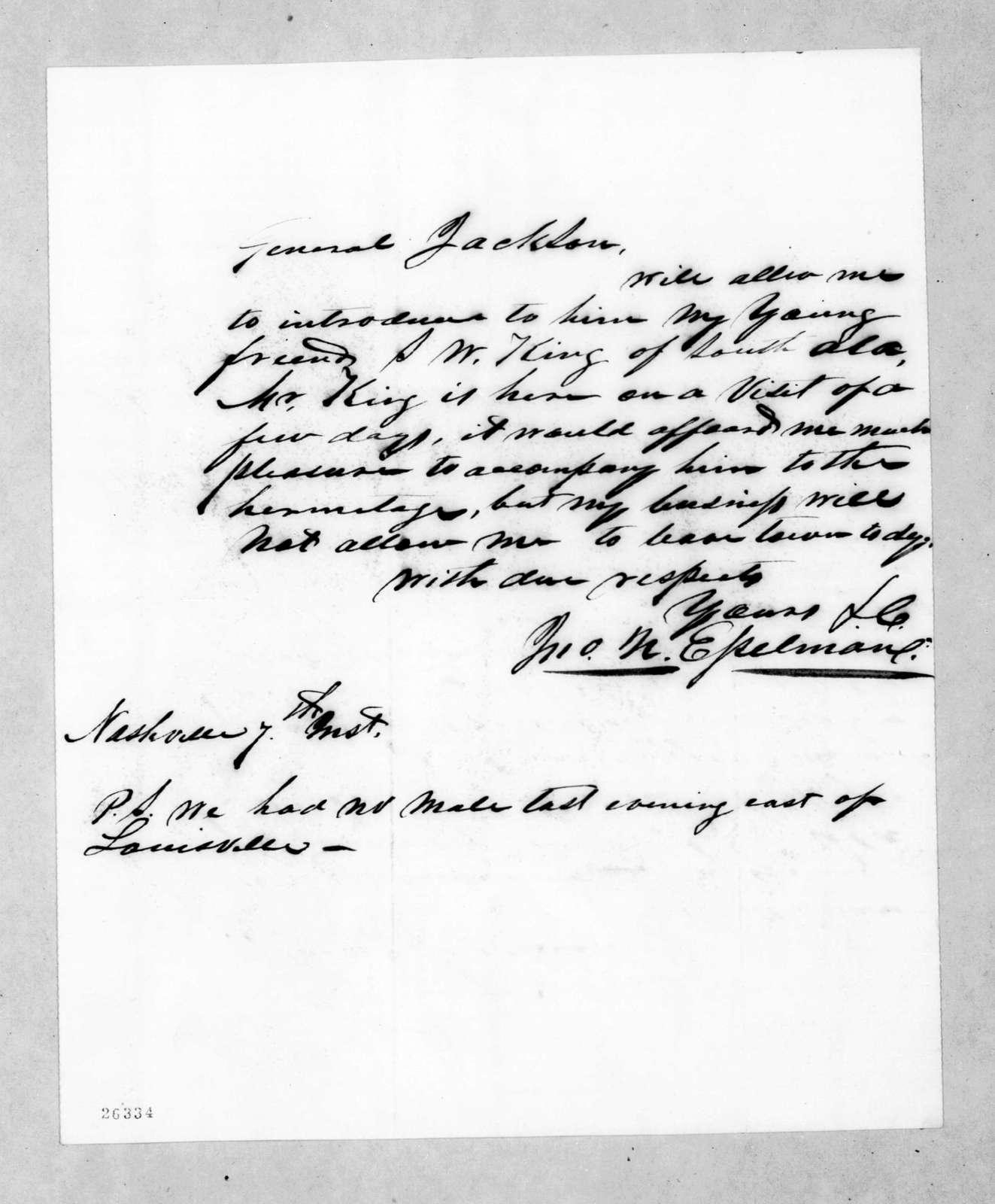 Joseph N. Esselman to Andrew Jackson