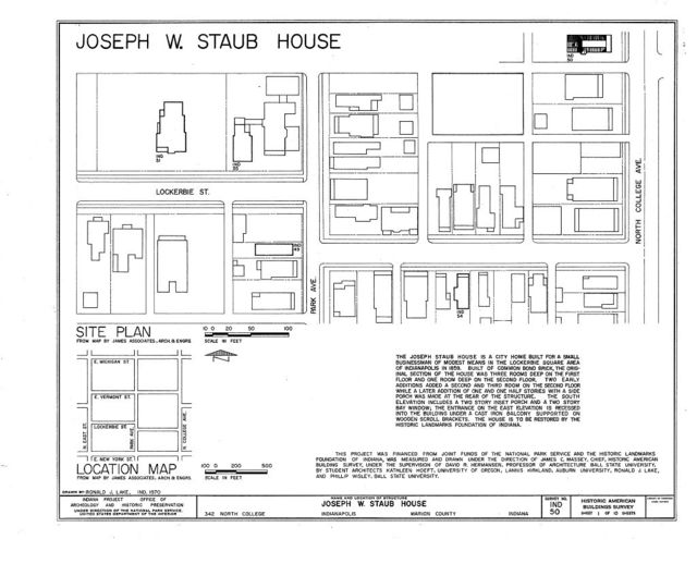 Joseph W. Staub House, 342 North College Avenue, Indianapolis, Marion County, IN