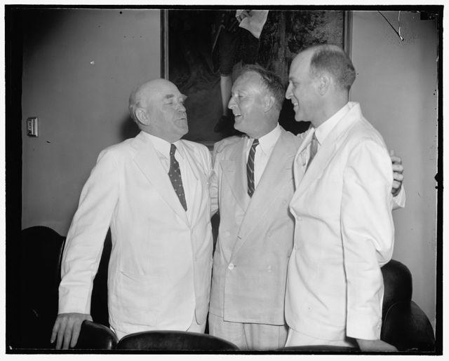 Justice Black welcomed to Senate. Washington, D.C., June 15. As congress neared adjournment today associate Justice Hugo L. Black visited the Senate Chamber for the first time since his appointment to the United States Supreme Court. He was welcomed by Senator John H. Bankhead, (left) and Senator Lister Hill, (right) who named to the Senate seat vacated by Black, 6/15/38