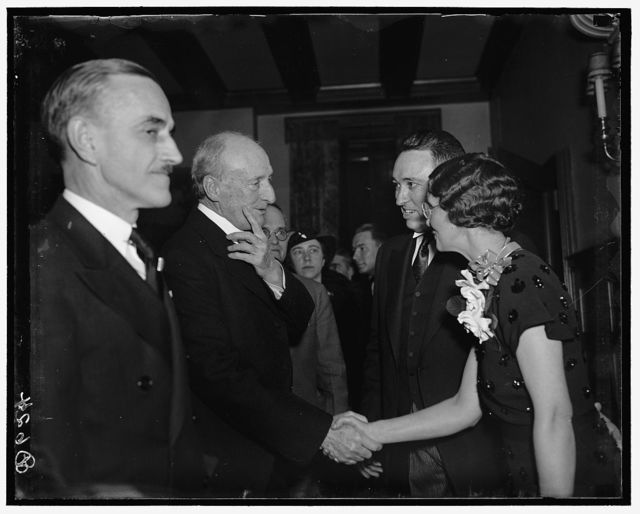 Justice McReynolds attends reception to Governor of Tennessee and Mrs. Gordon Browning. Washington D.C. Among the prominent Tennesseans attending the reception to Governor and Mrs. Gordon Browning was Associate Justice of the Supreme Court James C. McReynolds. The reception was tendered by Congressman Walter Chandler. Left to right: Justice McReynolds, Gov. Browning, and Mrs. Browning
