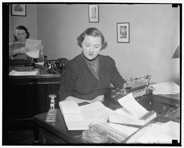 Kay Overton, 'Little Senator', Secretary to 'Big Senator' Overton on Hill. Washington, D.C., Jan. 20. Kay Overton, usually referred to as the 'little Senator', serves her father in his office as secretary. Her father is Senator John Overton from Louisiana, 1/20/38