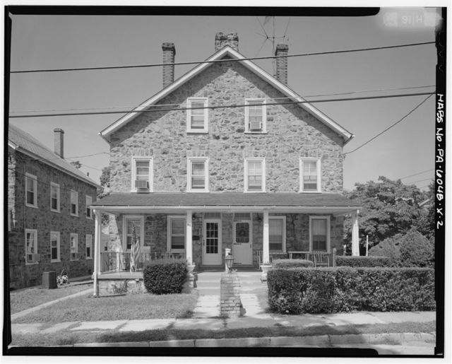 Keasbey & Mattison Company, Three-Story Double House, Gable Front Roof Type, 91-93 Lemon Street, Ambler, Montgomery County, PA