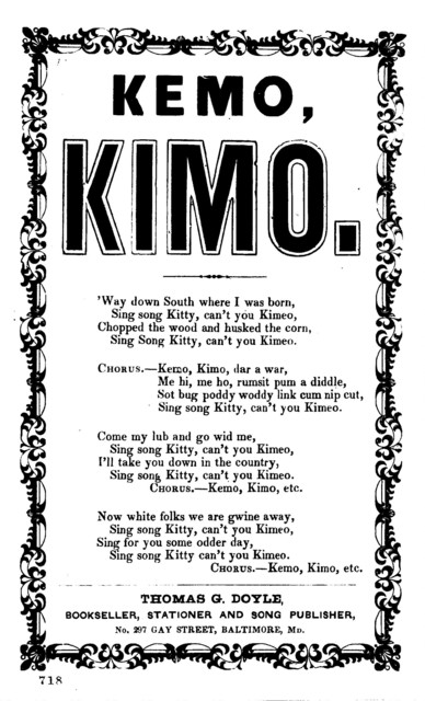 Kemo, Kimo. Thomas G. Doyle, Bookseller, Stationer, and Song publisher, Md