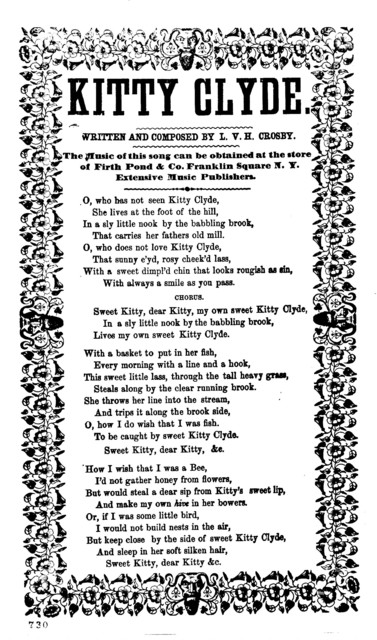 Kitty Clyde. Written and composed by L.V.H. Crosby. Firth Pond & Co., Franklin Square N. Y