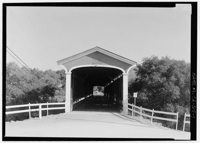 Knight's Ferry Bridge, Spanning Stanislaus River, bypassed section of Stockton-Sonora Road, Knights Ferry, Stanislaus County, CA