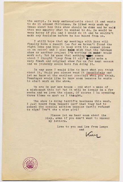 [ Kurt Weill to Ira Gershwin, June 10, 1941]