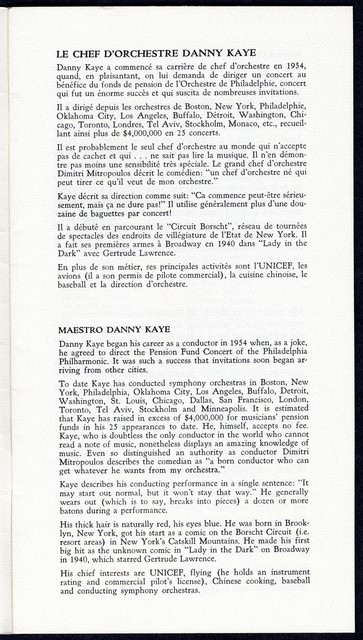 [ La Soirée, An Evening with Danny Kaye and the Orchestre Symphonique de Montréal, May 2, 1977]