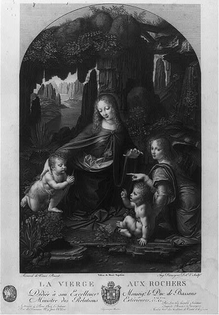 La vierge aux rochers / Léonard de Vinci, pinxit ; Aug. Desnoyers, delt & sculpt. Tableau du Musee Napoléon.....Imprimée par Rambox....