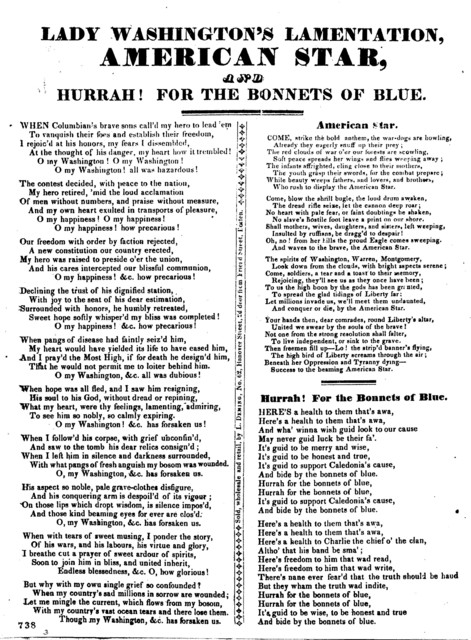 Lady Washington's lamentation, American star. and Hurrah! for the bonnets of blue. Sold, wholesale and retail, by L. Deming No. 62 Hanover Street, 2d door from Friend Street, Boston