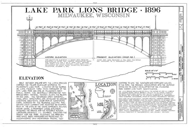 Lake Park Lions Bridge, At Lighthouse in Lake Park, Milwaukee, Milwaukee County, WI