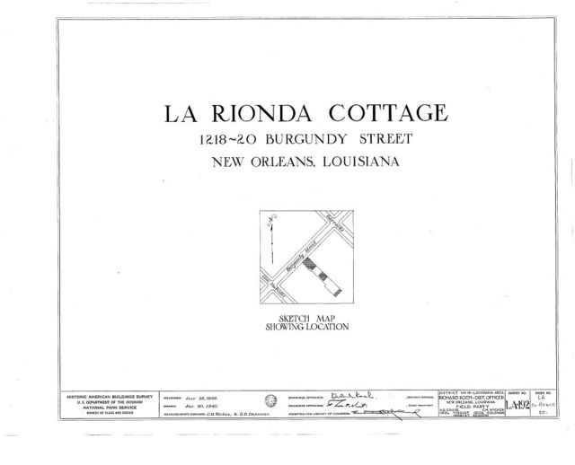 LaRionda Cottage, 1218-1220 Burgundy Street, New Orleans, Orleans Parish, LA