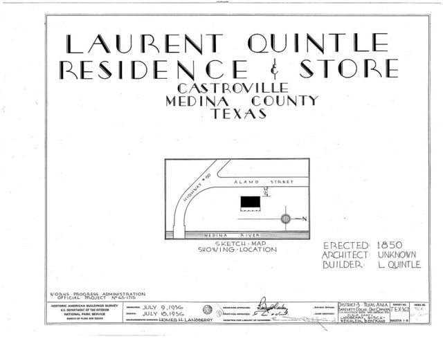 Laurent Quintle House & Store, Medina River off Highway 90, Castroville, Medina County, TX