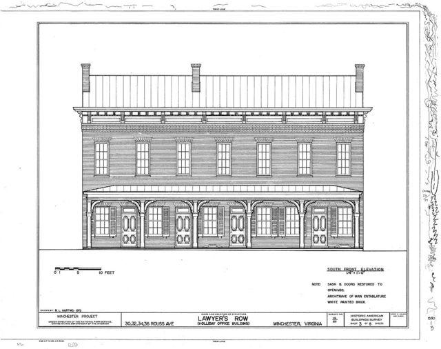 Lawyer's Row, 30, 32, 34 & 36 Rouss Avenue, Winchester, Winchester, VA