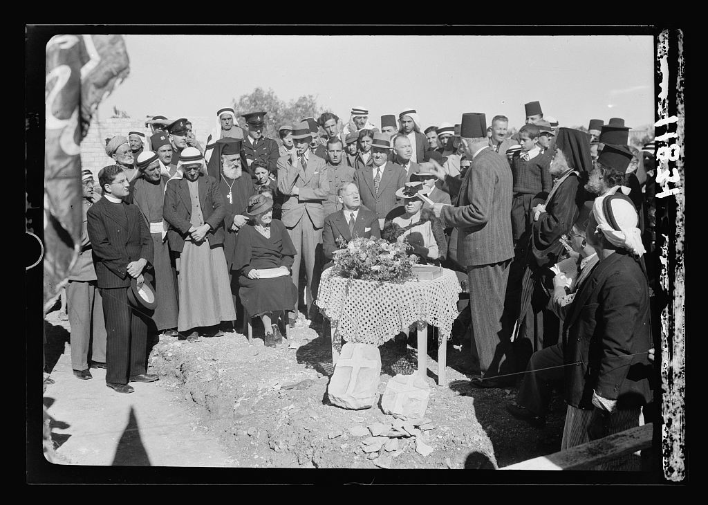Laying of corner stone at Ramallah for municipal school, Nov. 23, '40. Address by Mayor of Ramallah, Salem el-Zaahour during laying of corner stone by E. Keith Roach, Dist[rict] Commiss[ioner] Showing natural cross found in stone