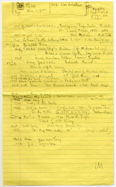 "[ Lecture notes for ""The History and Analysis of Musical Comedy,"" taught by Sylvia Fine at the University of Southern California, Spring 1972]"