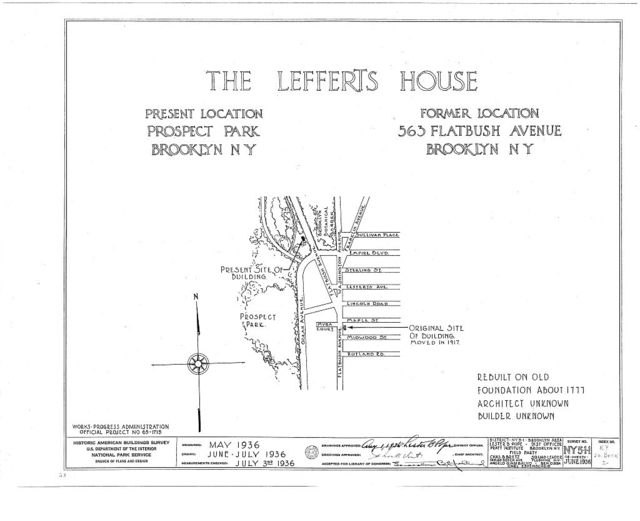 Lefferts House, Prospect Park (moved from 563 Flatbush Avenue), Brooklyn, Kings County, NY