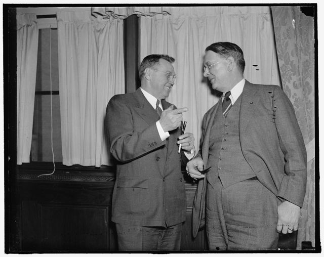 Left to right: W.K. Gunther of Gaffney, So. Car. Pres. & [...] Treas. of Dery Damask Mills Chairman of Wage & Hour Committee. Jim Daly of Columbus, Ohio. United Com'l Travelers, Chairman of Loans to Small Business. Small Business Mens Conference, 2/3/38