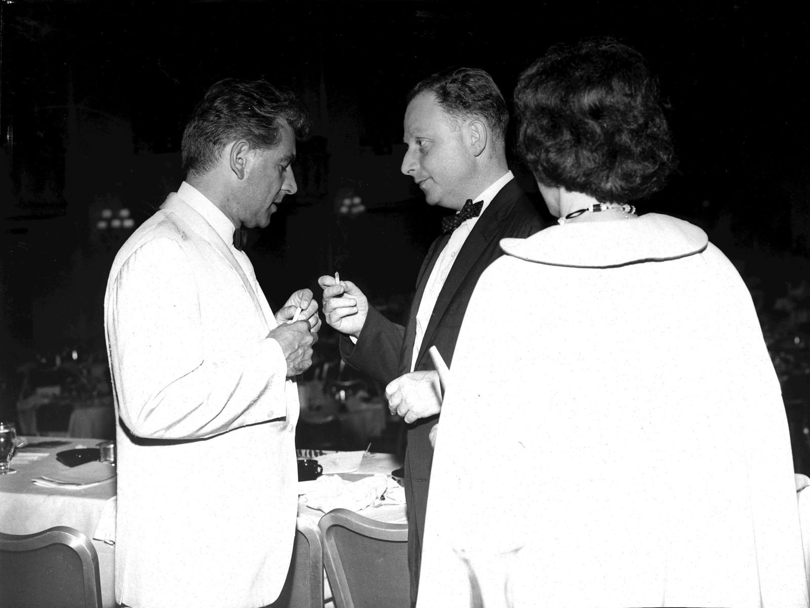 Leonard Bernstein, Irving Fine, Verna Fine (back), 1961