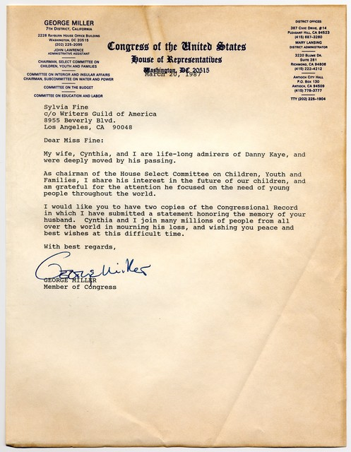[ Letter and congressional record excerpt from George Miller to Sylvia Fine, March 20, 1987]