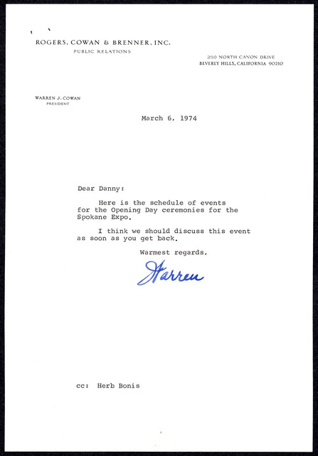 [ Letter and schedule of events for the Spokane Expo. From Warren Cowan to Danny Kaye, March 6, 1974]