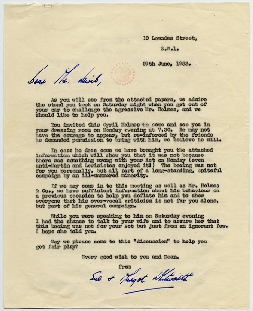 [ Letter and Statement to Jerry Lewis from Margot Whitworth, June 29, 1953]