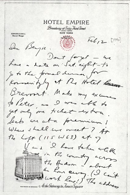 Letter from Aaron Copland to Benjamin Britten, February 12, 1940.