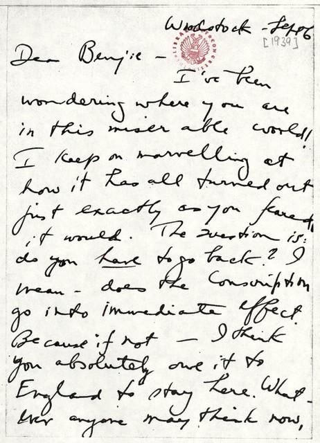 Letter from Aaron Copland to Benjamin Britten, September 6, 1939.