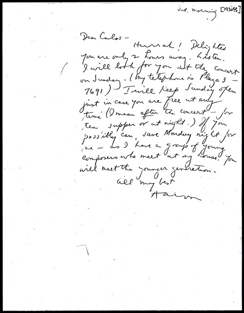 Letter from Aaron Copland to Carlos Chávez, 1930.