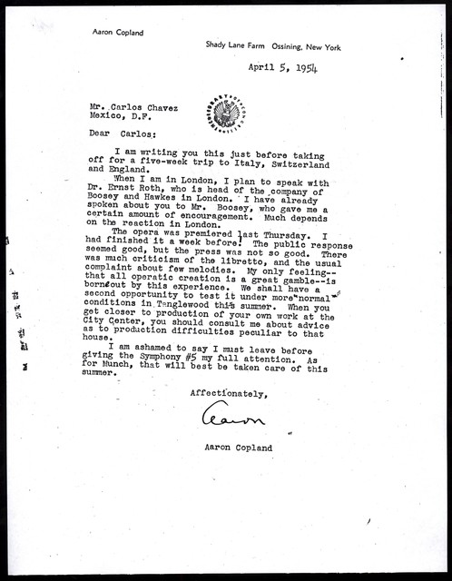 Letter from Aaron Copland to Carlos Chávez, April 5, 1954.