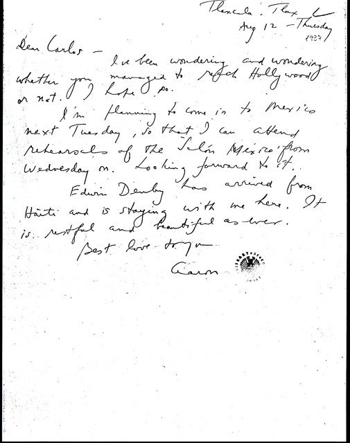 Letter from Aaron Copland to Carlos Chávez, August 12, 1937.