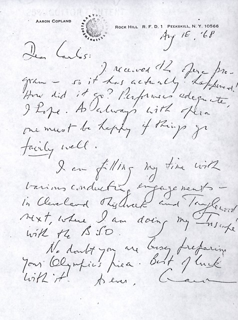Letter from Aaron Copland to Carlos Chávez, August 16, 1968.