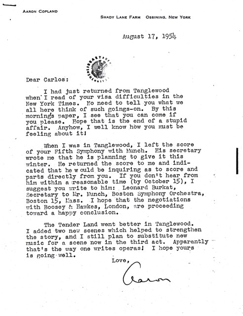 Letter from Aaron Copland to Carlos Chávez, August 17, 1954.