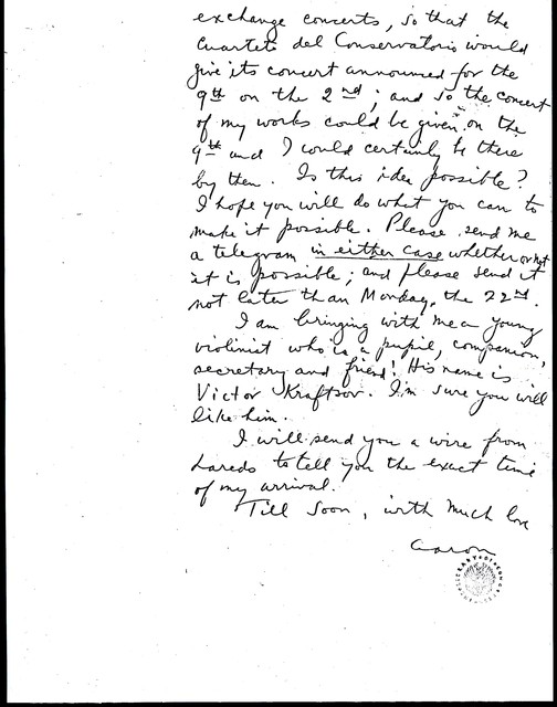 Letter from Aaron Copland to Carlos Chávez, August 18, 1932.