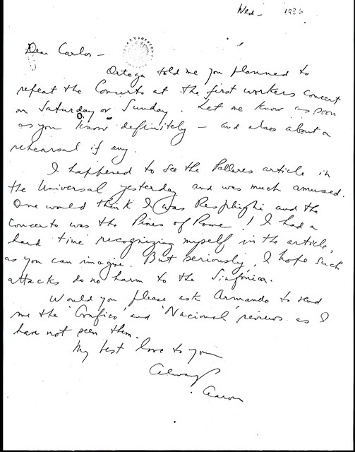 Letter from Aaron Copland to Carlos Chávez, August 1936.