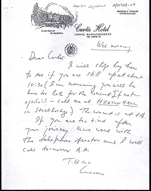 Letter from Aaron Copland to Carlos Chávez, August 1964.