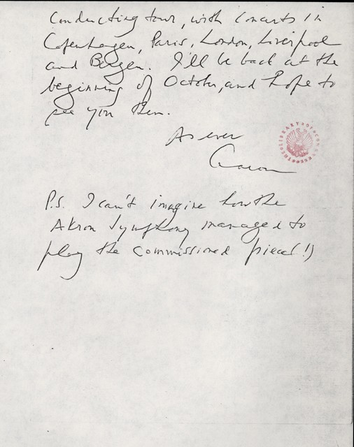 Letter from Aaron Copland to Carlos Chávez, August 25, 1975.