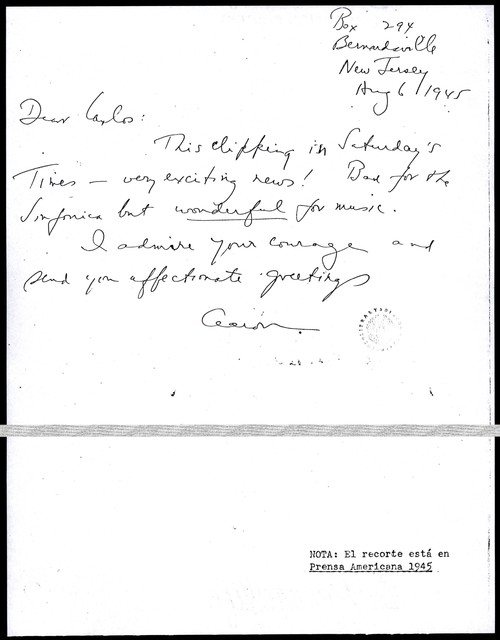 Letter from Aaron Copland to Carlos Chávez, August 6, 1945.