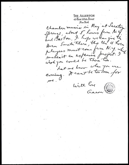 Letter from Aaron Copland to Carlos Chávez, December 26, 1931.